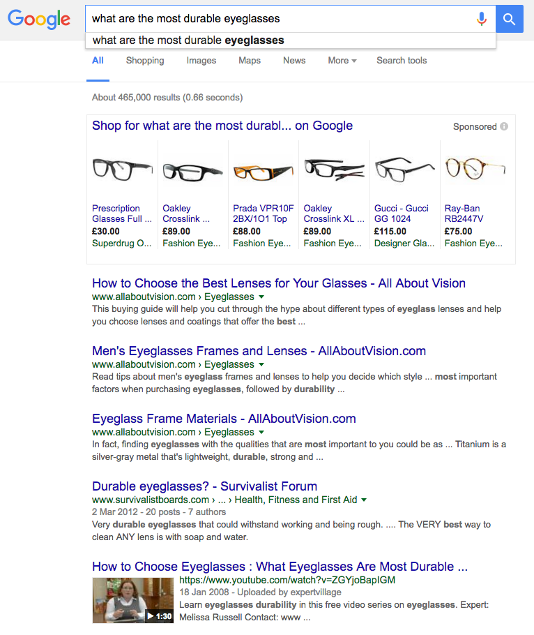 screen shot of example seo keywords