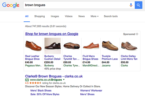 PLA google adwords screen grab